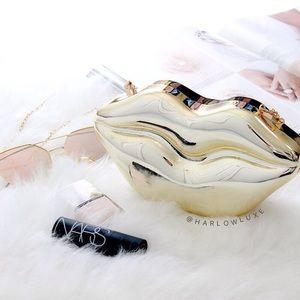  Gold Metallic Lips Clutch Bag