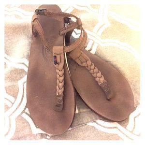 Rainbow Shoes - Rainbow T-strap braided sandals