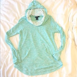 Miss Chievous Tops - Turquoise cowl neck hoodie