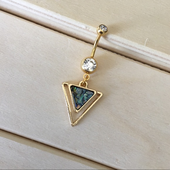 Green Opal Triangle Belly Button Ring Boutique