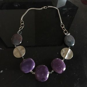 Silver and purple stone necklace