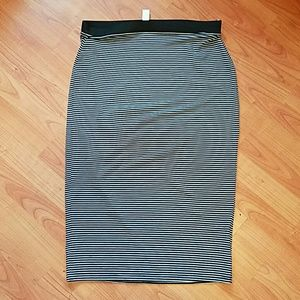 Old Navy black and white striped bodycon skirt