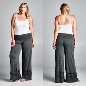 The O Boutique Pants - 🆕Charcoal Gray Crochet Trim Bottom Foldover Pants