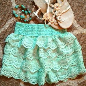 Mint green crochet shorts