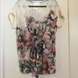 Anthropologie Tops - Anthropologie Maeve silk floral tie blouse