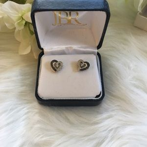 J.B. Robinson Jewelry - Heart Diamond Accent Sterling Earrings