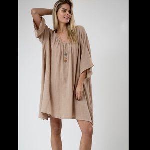 nude tan Gauze Oversized Swing Dress  wide sleeves