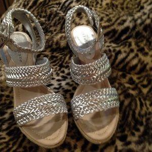 Apostrophe Shoes - Silver Apostrophe wedge sandal size 7 1/2