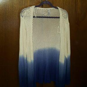 Indigo Blue Sweaters - Beautiful Indigo Ombre Cover Up/Cardigan 3X