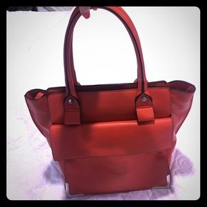 Zara Collection Red Leather Tote Bag