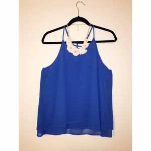 cute blue tank top with back cage