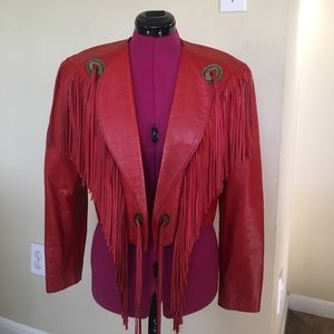 Scully Jackets & Blazers - Scully red fringe leather bolero jacket
