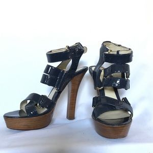 L.A.M.B. Shoes - L.A.M.B Strappy Wooden Heels size 6.5