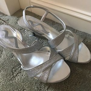 Nina Shoes - Silver Sparkly Heels