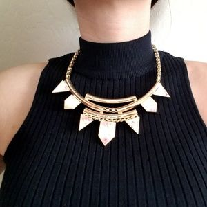 Gold pink statement necklace
