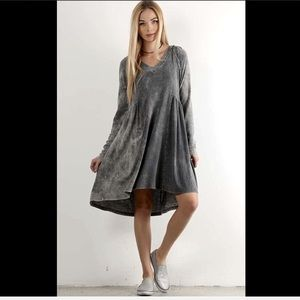Gray Stretch Thermal Hood Swing Dress distressed
