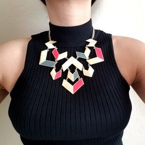 Gold red blue white statement necklace