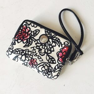 {coach} • rose print abstract wristlet