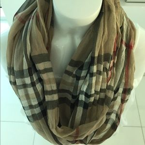Fraas Accessories - Plaid lt weight cotton infinity scarf never worn