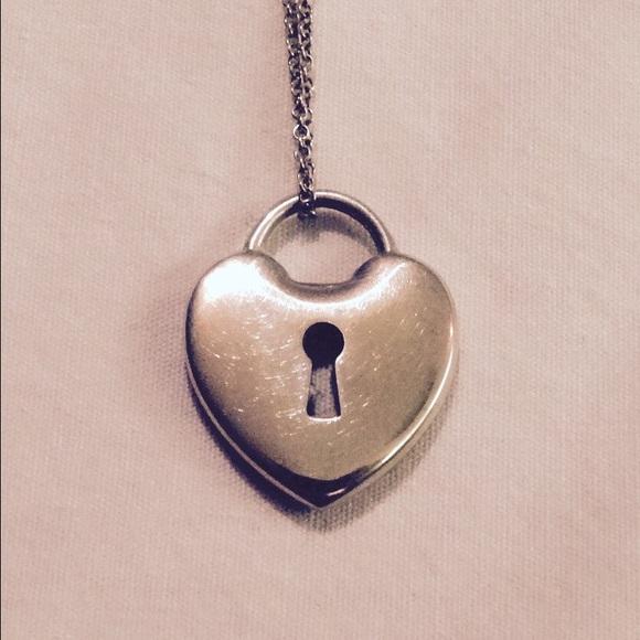 44b6effb88855 Tiffany & Co Mini Heart Lock Pendant w/ Chain