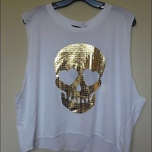 Wildfox Tops - Wildfox gold skull muscle tee