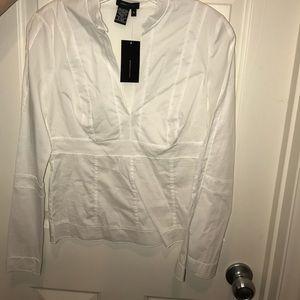 BCBG white long sleeve top