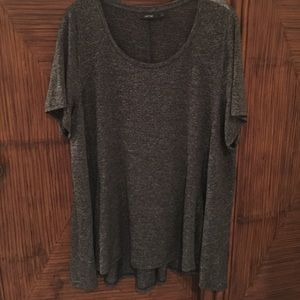 Grey 1X Apt. 9 Tunic Length Short Sleeve T