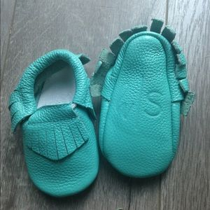 honeysuckle shoes Other - Honeysuckle shoes teal leather moccasins 6-12