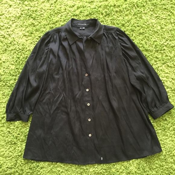 Theory theory silk black button down shirt from love 39 s for Black silk button down shirt