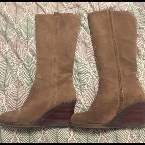 White Mountaineering Shoes - Tan suede calf high wedge boots!