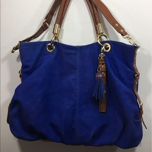 London Fog Blue Leather Tote Bag