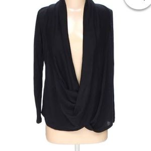 Rags and Couture Tops - Black Criss Cross Draped Top