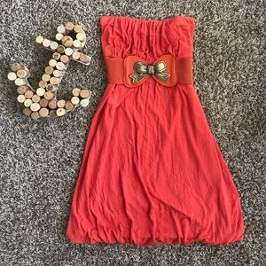 entro Dresses & Skirts - Orange Strapless Bubble Dress with bow belt