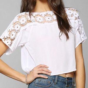 Staring at Stars Tops - white crochet neckline crop top