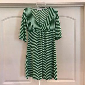 Cute Green & White Chevron Dress