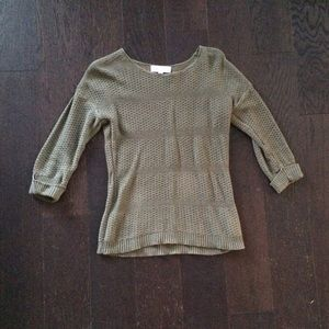 Green Open Knit Sweater with 3/4 Sleeves