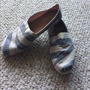 TOMS Shoes - Toms Grey/Blue Stripes Size 9