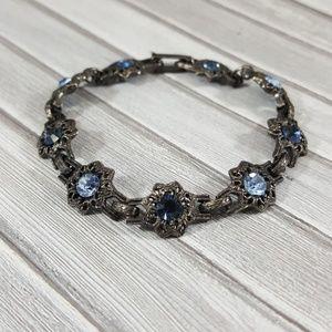 Vintage Jewelry - Vintage Bracelet With Blue Rhinestones