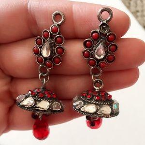 Jewelry - #A67 Tibetan Silver Red Dangle Earring