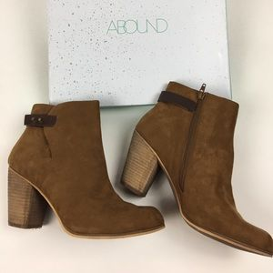 Abound Shoes - Faux Suede Vegan Stacked Heel Brown Boots