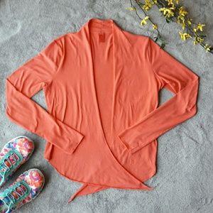 Prana Sweaters - Prana coral pink open yoga tie up cardigan