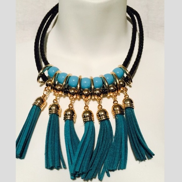 Jewelry - Turquoise Tassel Statement Necklace