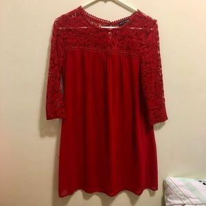 As U Wish Dresses & Skirts - Red Lace 3/4 Sleeve Shift Dress