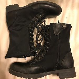 Pink & Pepper Shoes - Pink & Pepper Black Combat Boots 👢✨