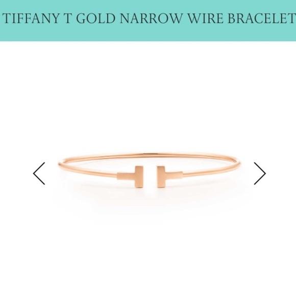 416eb7a55 Tiffany & Co. Jewelry | Tiffany Co T Rose Gold Narrow Wire Bracelet ...