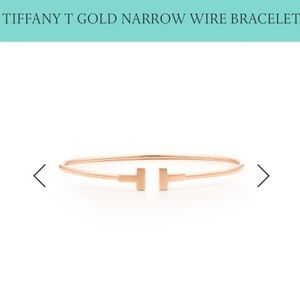 Tiffany & Co. Jewelry - Tiffany & Co. T Rose Gold Narrow Wire Bracelet