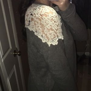 Sweaters - Sweater with Lace Design