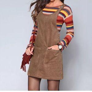 Dresses & Skirts - Brown mini suspender dress corduroy