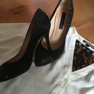 Steven by Steve Madden Shoes - Black glitter accented Steve Madden heels