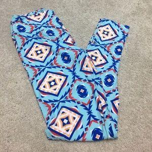 LuLaRoe Pants - Lularoe OS blue Aztec pattern